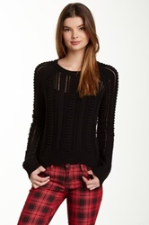 Romeo And Juliet Couture Pointelle Knit Hi Lo Sweater Black
