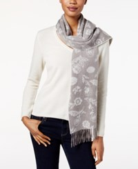 Charter Club Ditsy Floral Woven Cashmere Scarf Only At Macy's Heather Mocha