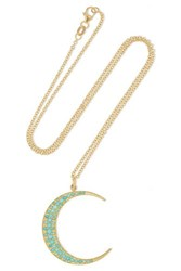 Andrea Fohrman Luna 18 Karat Gold Turquoise Necklace One Size