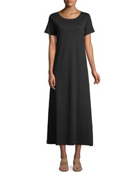 Joan Vass Short Sleeve A Line Long Dress Black