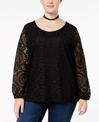 Ing Trendy Plus Size Lace Top Black