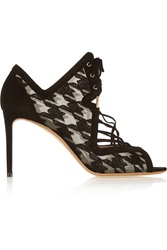 Nicholas Kirkwood Ava Houndstooth Embroidered Mesh And Suede Sandals