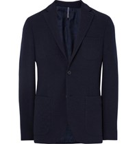 Incotex Blue Slim Fit Wool Terry Blazer Midnight Blue