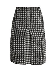 Sonia Rykiel Checked Tweed A Line Skirt Black White