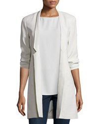 Eileen Fisher Structured Silk Notched Collar Long Jacket
