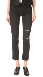 Paige Jacqueline Straight Leg Jeans With Raw Hem Carbon Black Destructed
