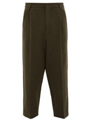 Raey Exaggerated Tapered Leg Boiled Wool Trousers Green