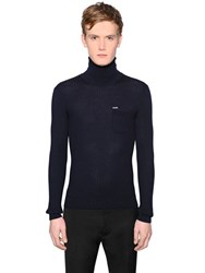 Dsquared Wool Rib Knit Turtleneck Sweater