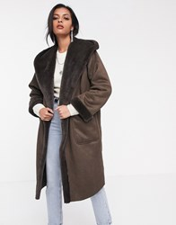 Religion Longline Hooded Shearling Coat Brown