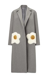 Anya Hindmarch Oversized Coat Eggs In Light Grey Wool With Mink Trim