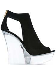 Balmain White Wedge Sandals Women Leather Suede Rubber 39 Black