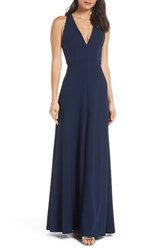 Jenny Yoo Margot V Neck Knit Crepe Gown Midnight