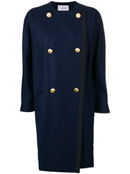 Gianfranco Ferre Vintage Double Breasted Collarless Coat Blue
