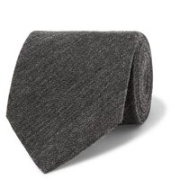 Dunhill Herringbone Cashmere And Mulberry Silk Blend Tie Charcoal