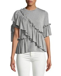 Romeo And Juliet Couture Asymmetric Ruffled Tee Gray
