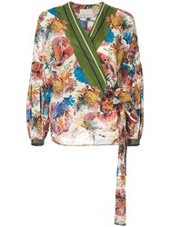 Ginger And Smart Submerge Floral Print Wrap Top Multicolour