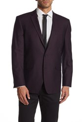 Kenneth Cole Reaction Burgundy Shimmer Two Button Notch Lapel Blazer 605Burgund