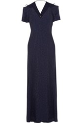 Roland Mouret Parry Cutout Jacquard Maxi Dress Midnight Blue