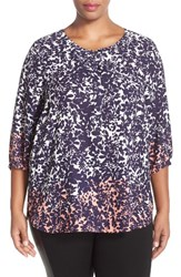 Nydj Plus Size Women's Henley Top Night Bloom