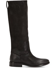 Strategia 20Mm Vintage Leather Tall Boots Black
