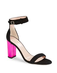 Kate Spade Ilonatoo Suede Colorblocked Open Toe Heels Black Pink