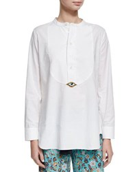 Figue Evil Eye Tuxedo Shirt White