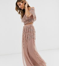 Maya All Over Embellished Maxi Skirt In Mauve Purple