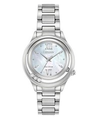 Citizen Eco Drive Diamond Blue Topaz And Stainless Steel Watch Silver