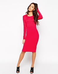 Vero Moda Long Sleeve Body Conscious Midi Dress Pink