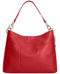 Tommy Hilfiger Th Signature Leather Small Hobo Red