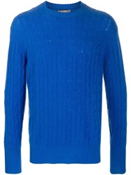 N.Peal The Thames Cable Knit Jumper Blue