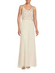 Aidan Mattox Beaded Evening Gown Champagne