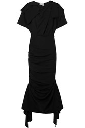 Awake A.W.A.K.E. Draped Stretch Crepe Maxi Dress Black