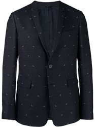 Fendi Triangle Slim Fit Blazer Blue