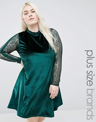 Club L Plus Velvet Swing Dress With Lace Sleeves Emerald Green