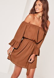 Missguided Bardot Frill Sleeve Tie Waist Skater Dress Brown Pink