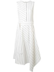 Goen.J Pinstripe Midi Dress White