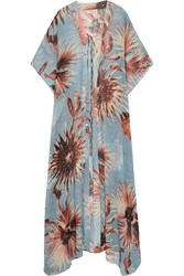 Adriana Degreas Printed Silk Georgette Kaftan Light Blue