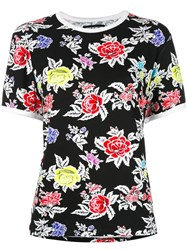 House Of Holland Roses Pattern Shrunken T Shirt Black