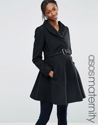 Asos Maternity Skater Coat With Funnel Neck Black