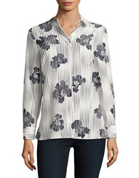 Ellen Tracy Modern Art Printed Boyfriend Shirt White