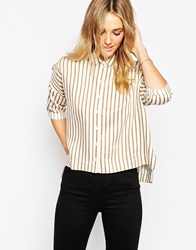 Asos Oversized Shirt In Camel And Cream Stripe Multi