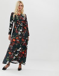 Zibi London Wrap Front Long Sleeve Floral Midi Dress Black