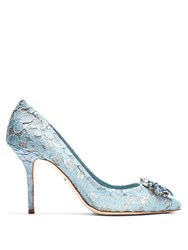 Dolce And Gabbana Belluci Crystal Embellished Lace Pumps Light Blue