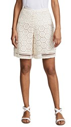See By Chloe Ornamental Lace Shorts Crystal White