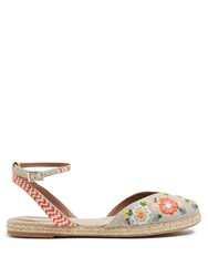 Tabitha Simmons Dotty Festival Embroidered Linen Espadrilles Cream Multi