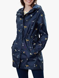 Joules Packaway Waterproof Rain Coat Navy Dogs