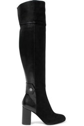 Belstaff Paneled Leather And Suede Over The Knee Boots Black