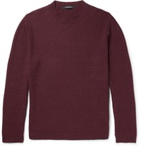 Ermenegildo Zegna Wave Knit Wool Silk And Cashmere Blend Sweater Burgundy