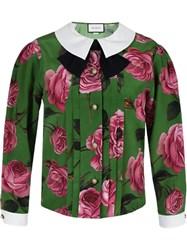Gucci Floral Print Peter Pan Collar Blouse Green